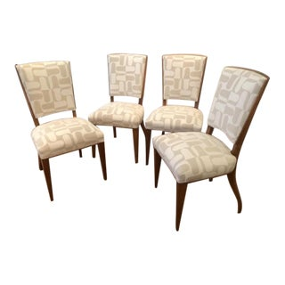 French Art Deco Cherrywood Armless Dining Chairs Upholstered in Larsen Fabric - Set of 4 For Sale