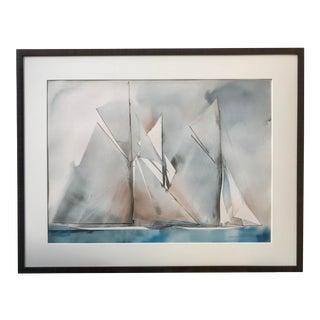 Vintage Modernist Watercolor Yacht Sailing Races by Willard Bond 1978 For Sale