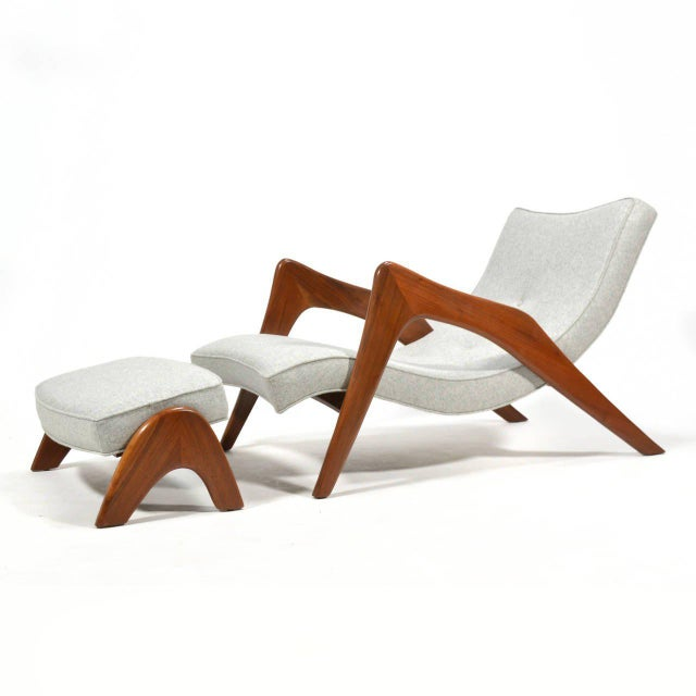 Mid-Century Modern Adrian Pearsall Pair of Crescent Lounge Chairs and Ottomans For Sale - Image 3 of 10