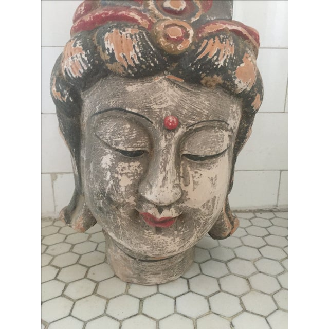 Asian Quan Yin Terracotta Hand Painted Head For Sale - Image 3 of 10