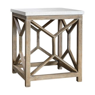 Limestone Top End Table For Sale