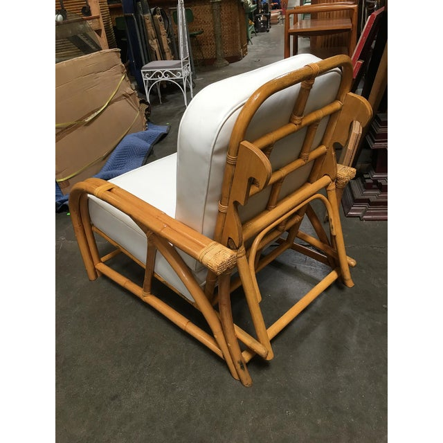 Restored 1949 Rattan Reclining Lounge Chair With Arched Arms For Sale In Los Angeles - Image 6 of 8