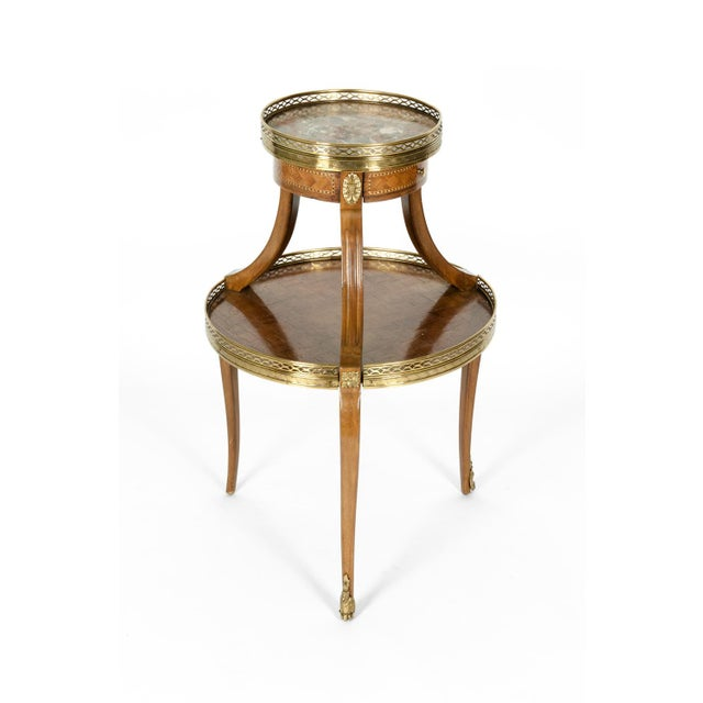 Louis XVI Two-Tier Marble Top Marquetry Side or End Table For Sale - Image 4 of 13