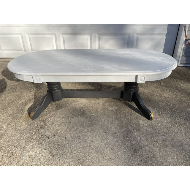 Rustic Vintage Rustic Painted Oval Coffee Table For Sale - Image 3 of 12