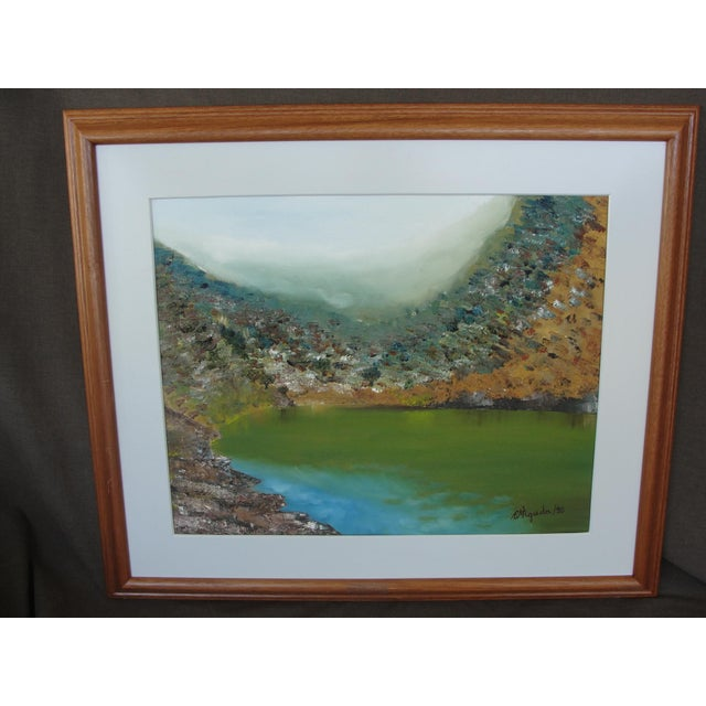 Vintage Impressionist Oil on Canvas Harbor by M'agreda. This is a very nice impressionist oil on canvas painting matted...