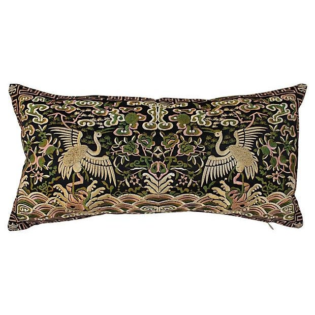Gold Metallic Silk Crane Boudoir Pillow - Image 1 of 6