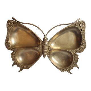 Vintage Mid-Century Modern Brass Butterfly/Moth Catchall For Sale