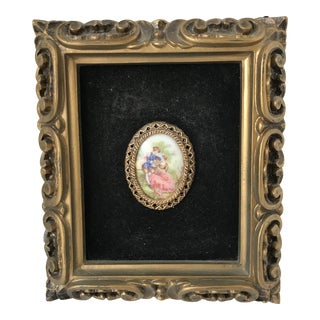 Vintage Framed Hand Painted Miniature on Porcelain For Sale