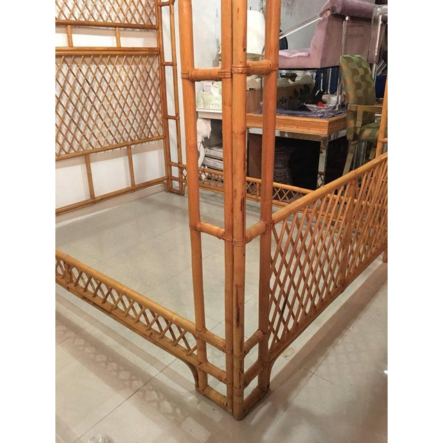 Rattan Bamboo Chinese Chippendale Queen Canopy Bed - Image 7 of 11