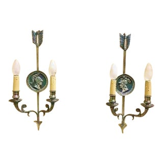 Maison Charles,French Silvered Bronze Pair of Two Light Sconces For Sale