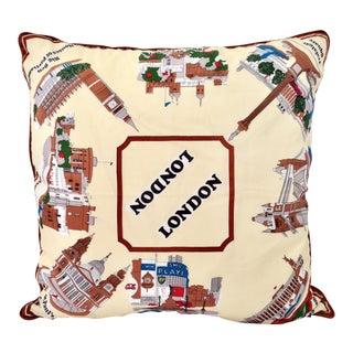 1960's London Silk Scarf Travel Souvenir Down Filled Pillow For Sale