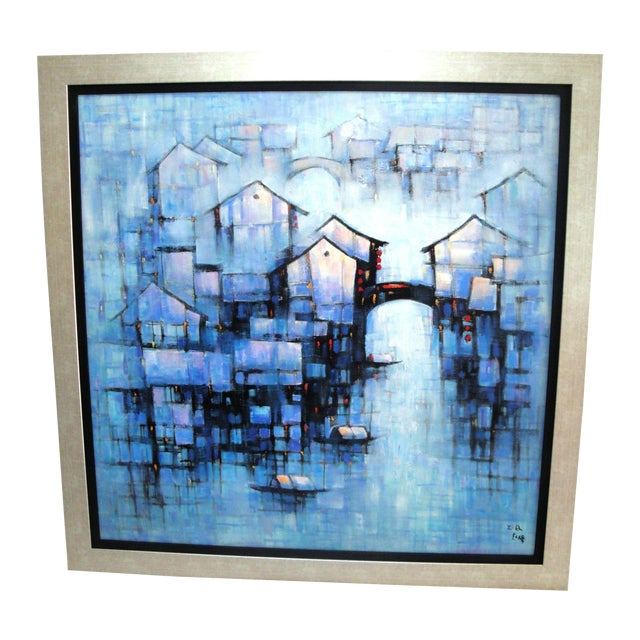 Water Night Signed Framed Oil on Canvas For Sale
