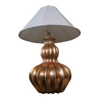 Large Bulbous Metallic Gilt New Modern Lamp For Sale