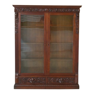 Victorian Lion Head Carved Mahogany Bookcase For Sale