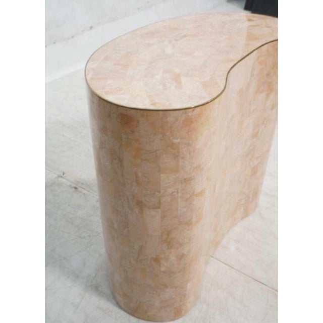 Final Markdown Maitland-Smith Tessellated Pink Marble Kidney Side Table - Image 3 of 6