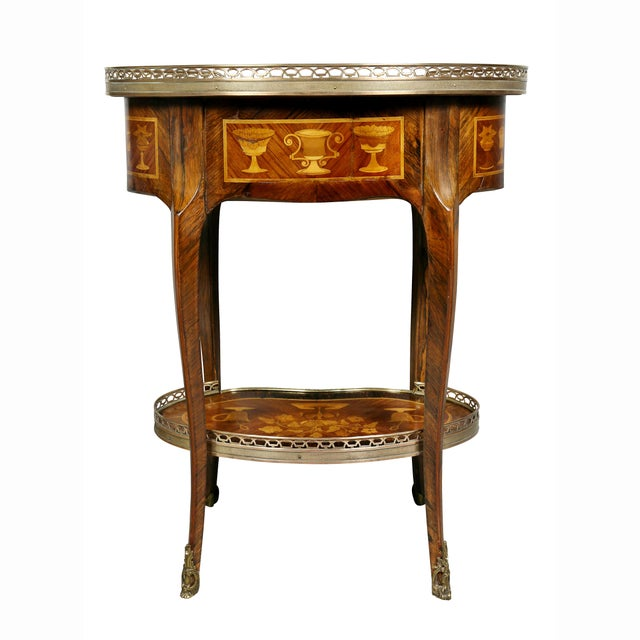 Louis XVI Style Marquetry Table A' Ecrire For Sale - Image 12 of 13