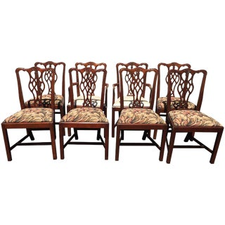 1950s Chippendale Style Hickory Chair Dining Chairs - Set of 8