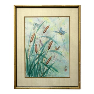 Mina Hsing Painting Cattails and Butterflies Watercolor Painting by Mina Hsing For Sale