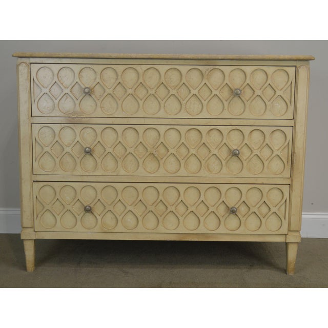 Hickory Chair Atelier Rustic Parchment Painted Marble Top Murano Chest of Drawers For Sale - Image 10 of 13
