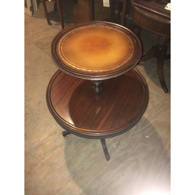 Vintage Leather Top 2 Tier Dumbwaiter Round Side Table - Image 2 of 10