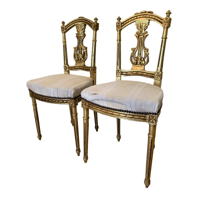 Antique French Neoclassical Louis XVI Lyre Chairs - a Pair For Sale