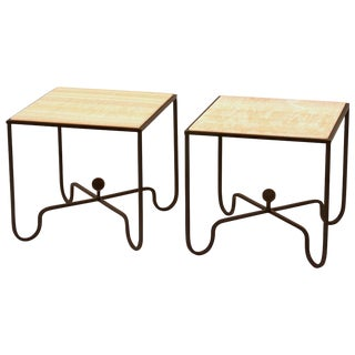 """The """"Entretoise"""" Wrought Iron and Onyx Tables For Sale"""