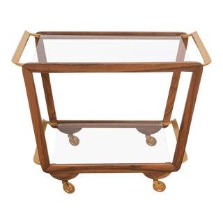 Mid-Century Walnut & Brass Bar Cart For Sale