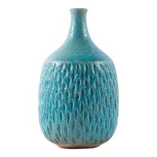Victor Bracke Signed Studio Pottery Blue Vase For Sale
