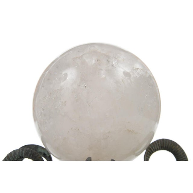 Hollywood Regency Rock Crystal Globes on Bronze Stands - A Pair For Sale - Image 3 of 9