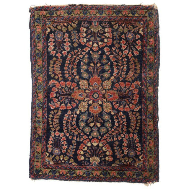 Abstract 20th Century Persian Sarouk Accent Rug For Sale - Image 3 of 3