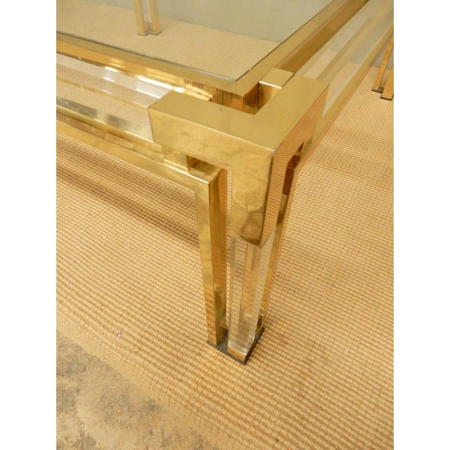 Mid-Century Brass, Lucite, and Glass Square Coffee Table For Sale - Image 4 of 8