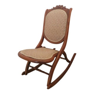 Antique Victorian Folding Rocking Chair For Sale