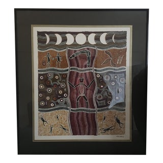 "1970's Vintage Noel Doyle ""Stars Were Created"" Serigraph Screen-Print Aboriginal Art For Sale"