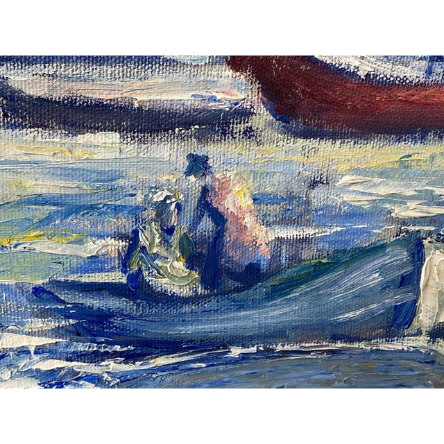 """Blue Midcentury French Oil Painting on Canvas, """"Saint-Tropez, France"""" - 1962 For Sale - Image 8 of 13"""