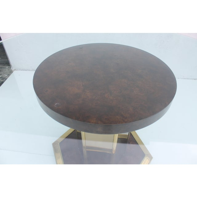 Mastercraft Vintage Burl Wood & Brass Dining Table For Sale - Image 9 of 11