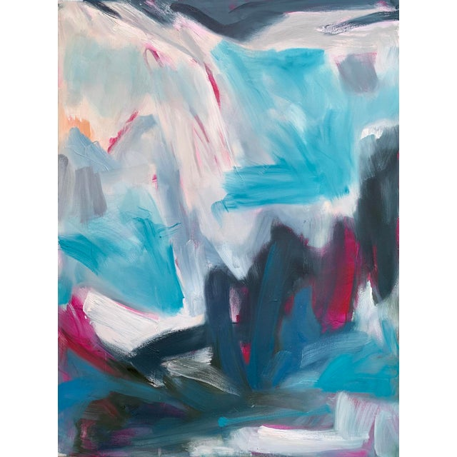 "Trixie Pitts ""High Seas"" by Trixie Pitts Large Triptych Abstract Oil Painting For Sale - Image 4 of 13"