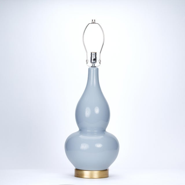 Traditional Casa Cosima Double Gourd Table Lamp, Stinson Blue/Blue Danube Shade, a Pair For Sale - Image 3 of 7