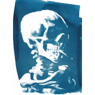 Cyanotype on Watercolor Paper, Limited Edition, Van Gogh Skull With Cigarette, A4 For Sale