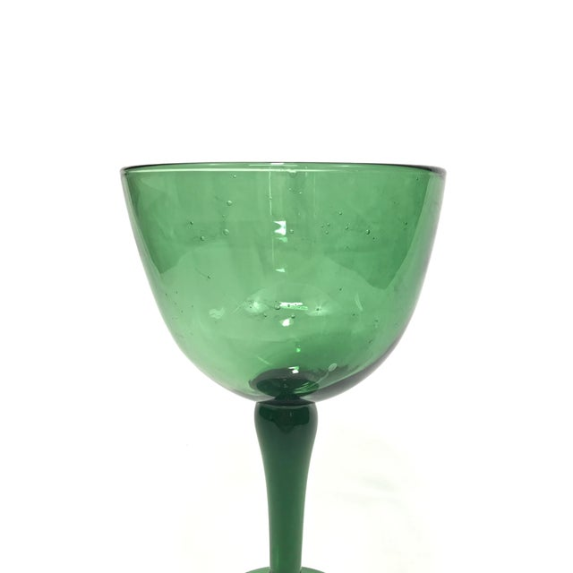 Excellent 1960s green Blenko-style pedestal compote made out of blown glass with random bubbles. Very good condition! No...
