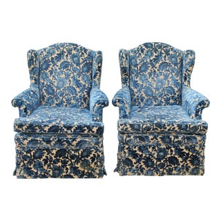 Cut Crushed Velvet Wingback Chairs - A Pair For Sale