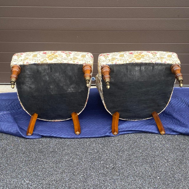 Tufted Floral Slipper Chairs - a Pair For Sale - Image 11 of 13