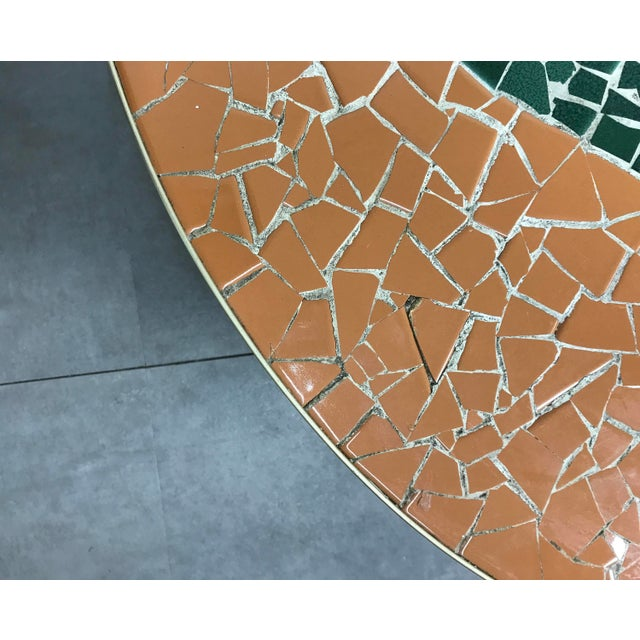 Brass Italian Modern Round Mosaic Tile Coffee Table, Circa 1950's For Sale - Image 7 of 11