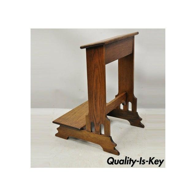 Vintage Arts & Crafts Mission Oak Wood Prayer Kneeler Kneeling Bench Seat For Sale - Image 12 of 12