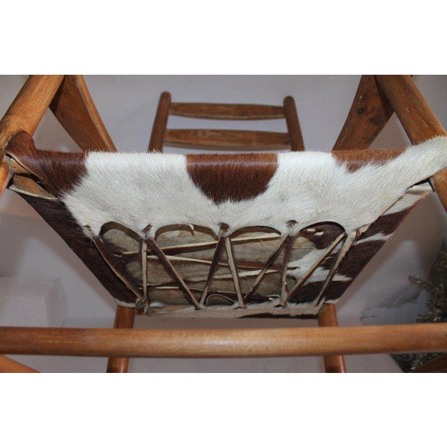 Early 20th Century South West Rocking Chair in Cowhide Seat For Sale - Image 11 of 12