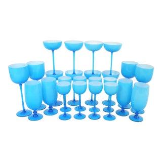 1960's Italian Carlo Moretti Tiffany Blue Cased Stemware - Set of 20 For Sale