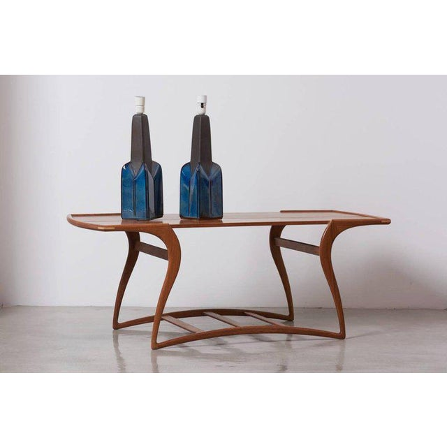 Mid-Century Modern Pair of Large Blue and Grey Ceramic Table Lamps by Soholm, Denmark, 1960s For Sale - Image 3 of 7