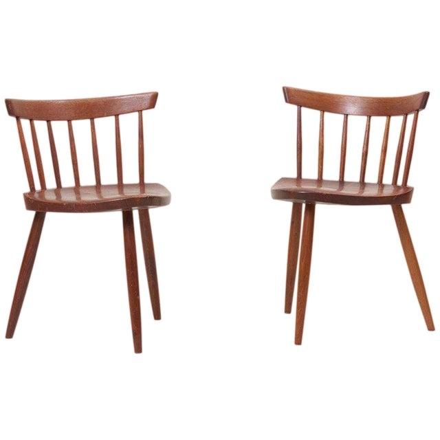 Pair of George Nakashima Studio Mira Nakashima Mira Chair in Walnut For Sale