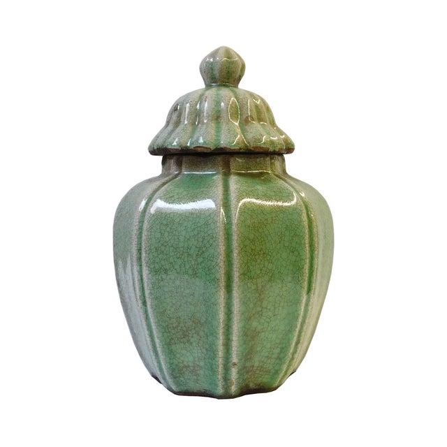 Asian Ceramic Crackle Pattern Pumpkin Celadon Green Jar For Sale - Image 3 of 6