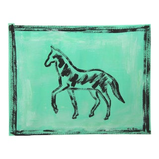 Abstract Black Horse on Jade Green Painting by Cleo Plowden For Sale