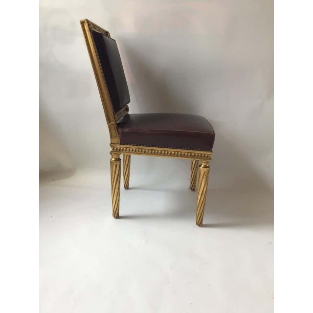 French Style Louis XVI Giltwood/ Leather Dining Chairs- Set of 4 For Sale - Image 11 of 13